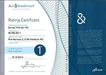 Samuel Werder AG receives the Dun & Bradstreet certificate again